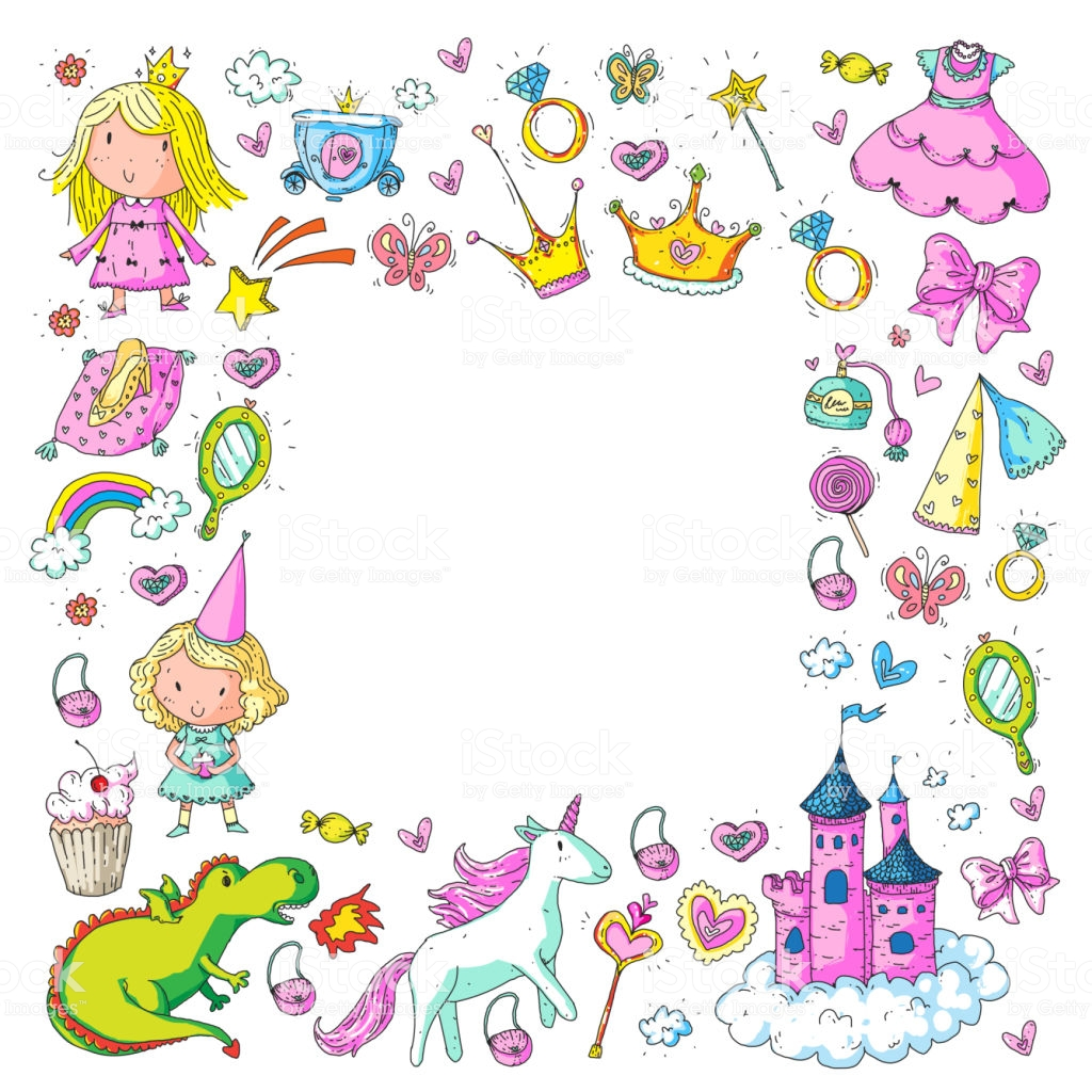Cute Princess Icons Set With Unicorn Dragon Girl Wallpaper Baby 1024x1024
