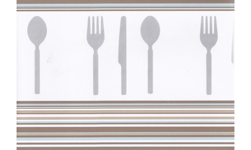 Home Brown Teal White Modern Cutlery Wallpaper Border 1000x600