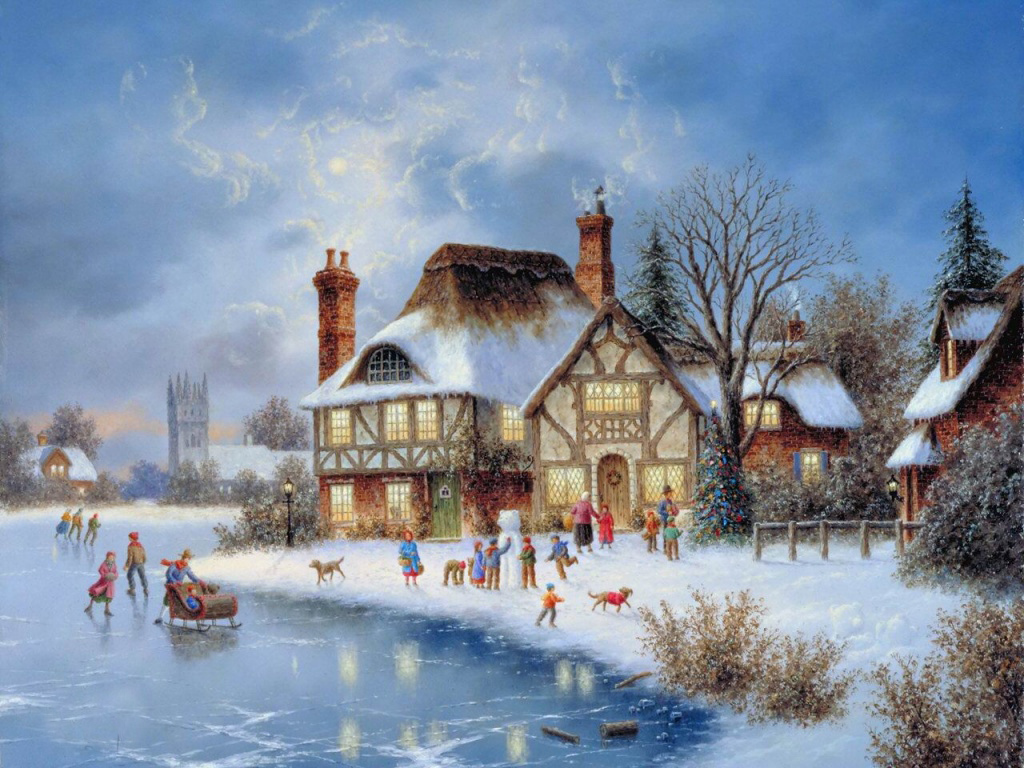 old fashioned christmas town wallpaper - photo #7