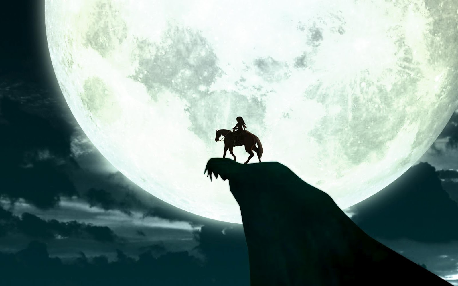 link epona moon light night sky the legend of zelda horse wallpaper 1600x1000