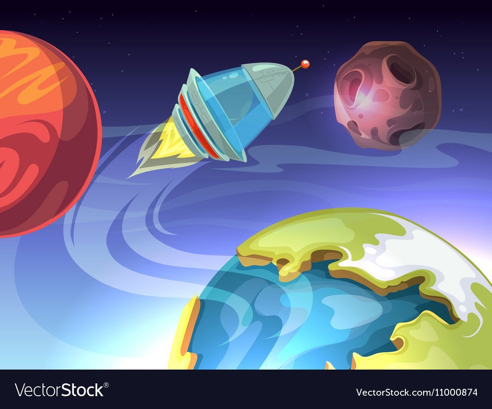 Space cartoon comic background with Royalty Vector 1000x830