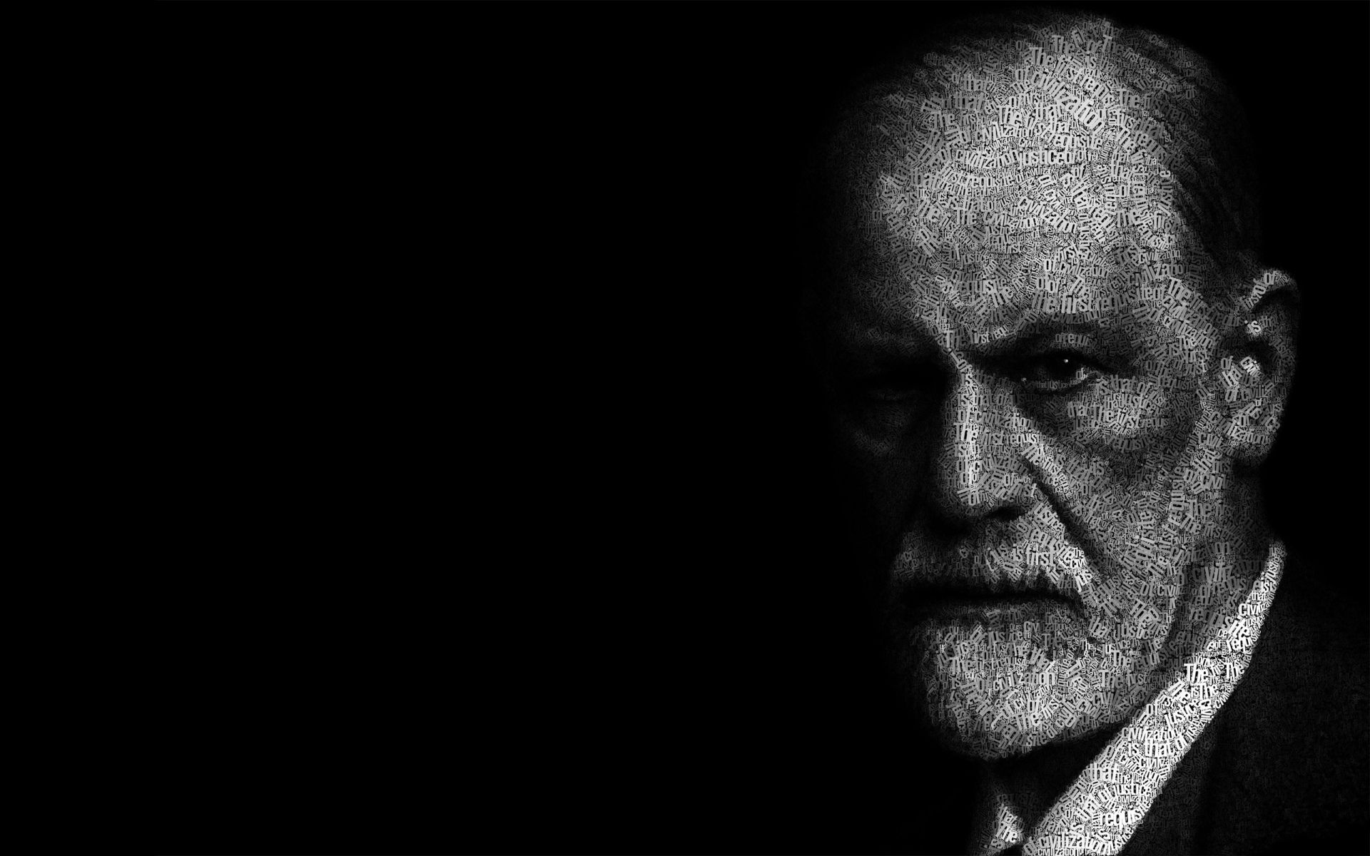 Artistic Typography Sigmund Freud Black White Face Black 1920x1200