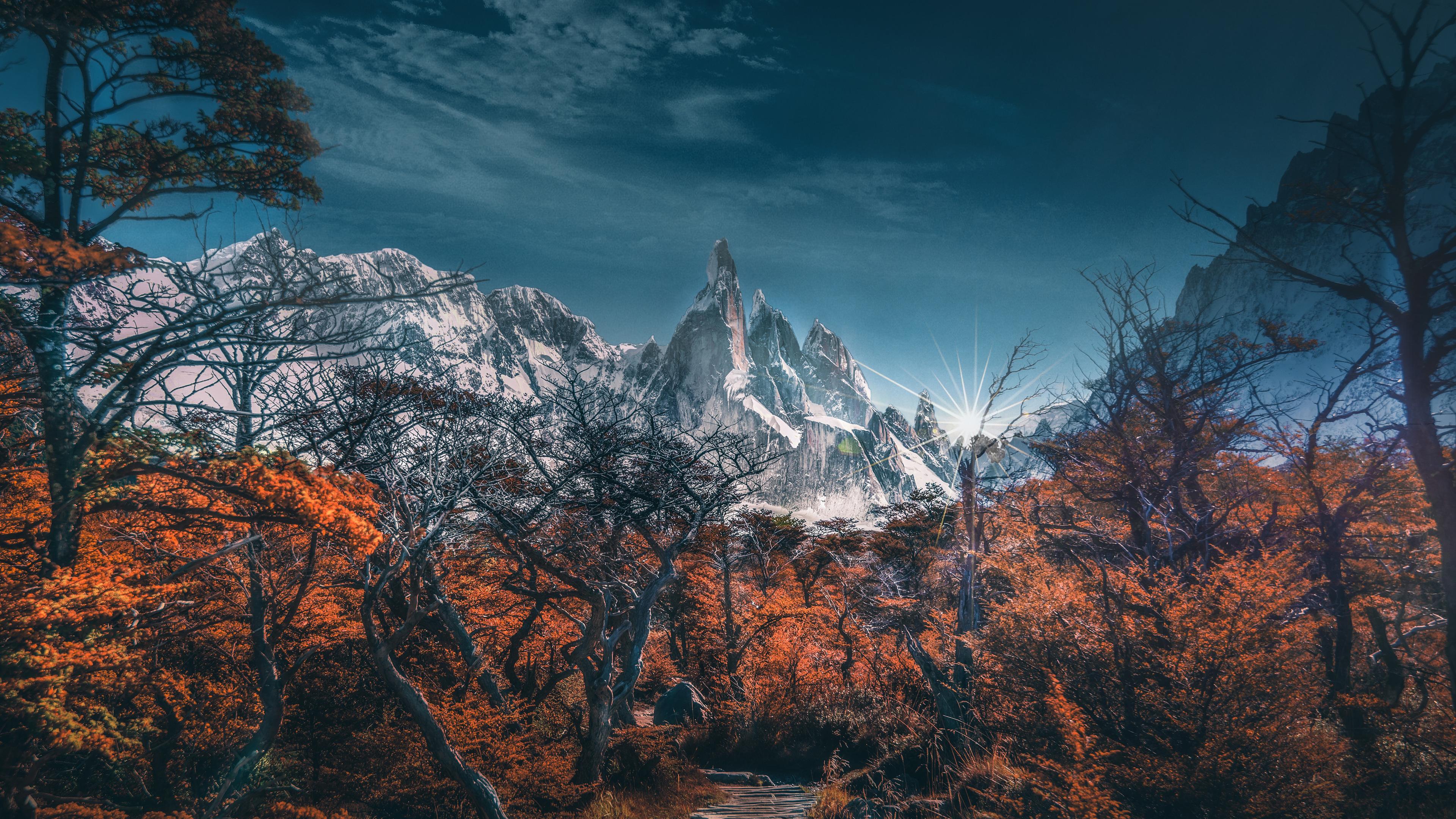 Wallpaper 4k Snowy Mountains Trees Landscape 4k Wallpaper 3840x2160