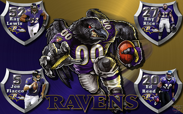 Wallpapers By Wicked Shadows Ravens Crazy Logo Shield Players 640x400
