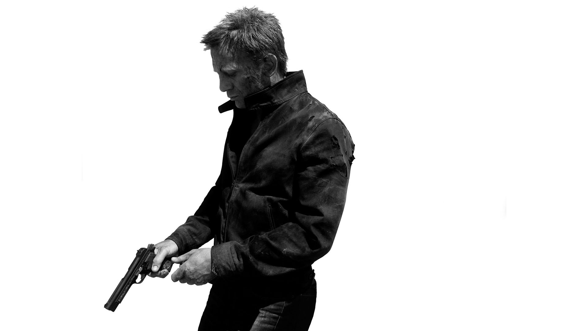 james Bond 007 Skyfall White Handgun Bw Daniel Craig Dark 1920x1080