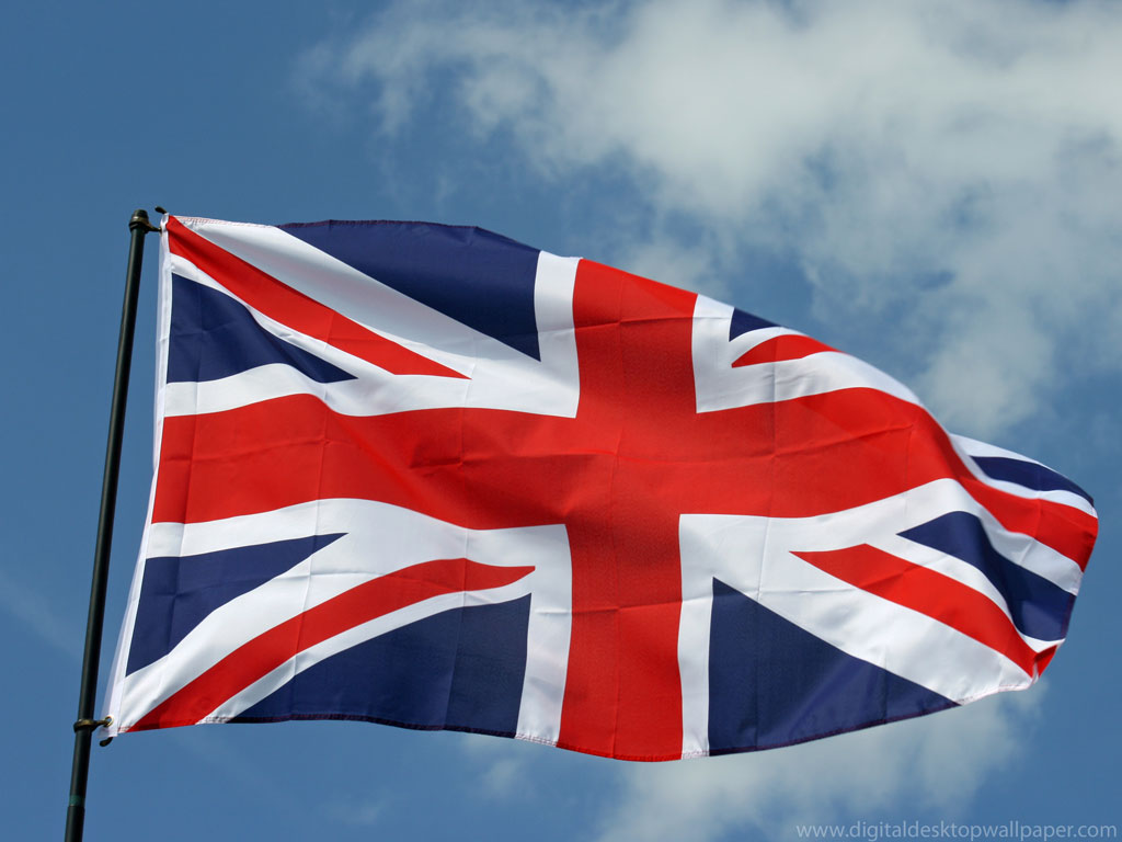 UK United Kingdom British Wallpaper of waving Flag 1024x768