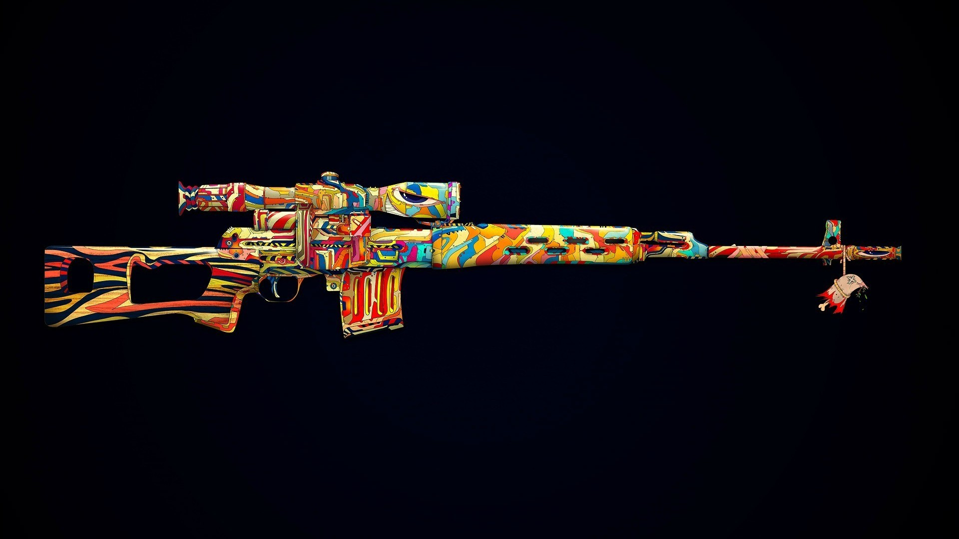 Colorized machine gun Wallpaper 2759 1920x1080