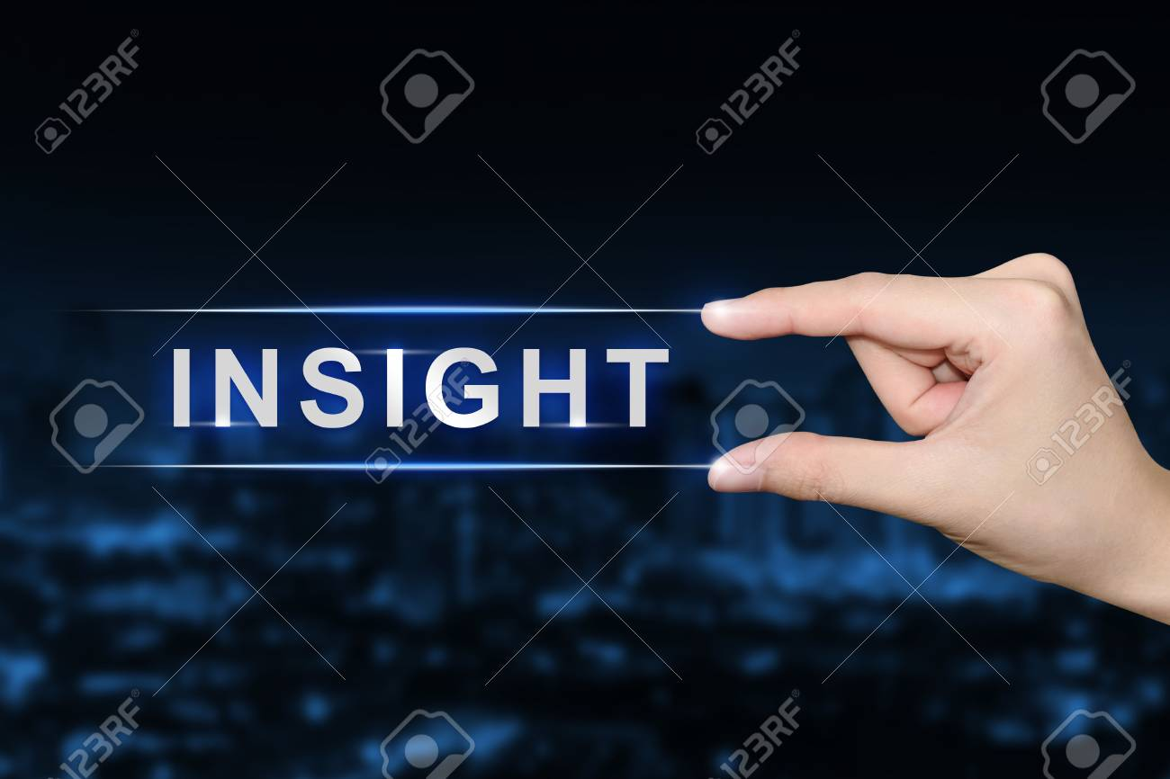 Hand Pushing Insight Button On Blurred Blue Background Stock Photo 1300x866