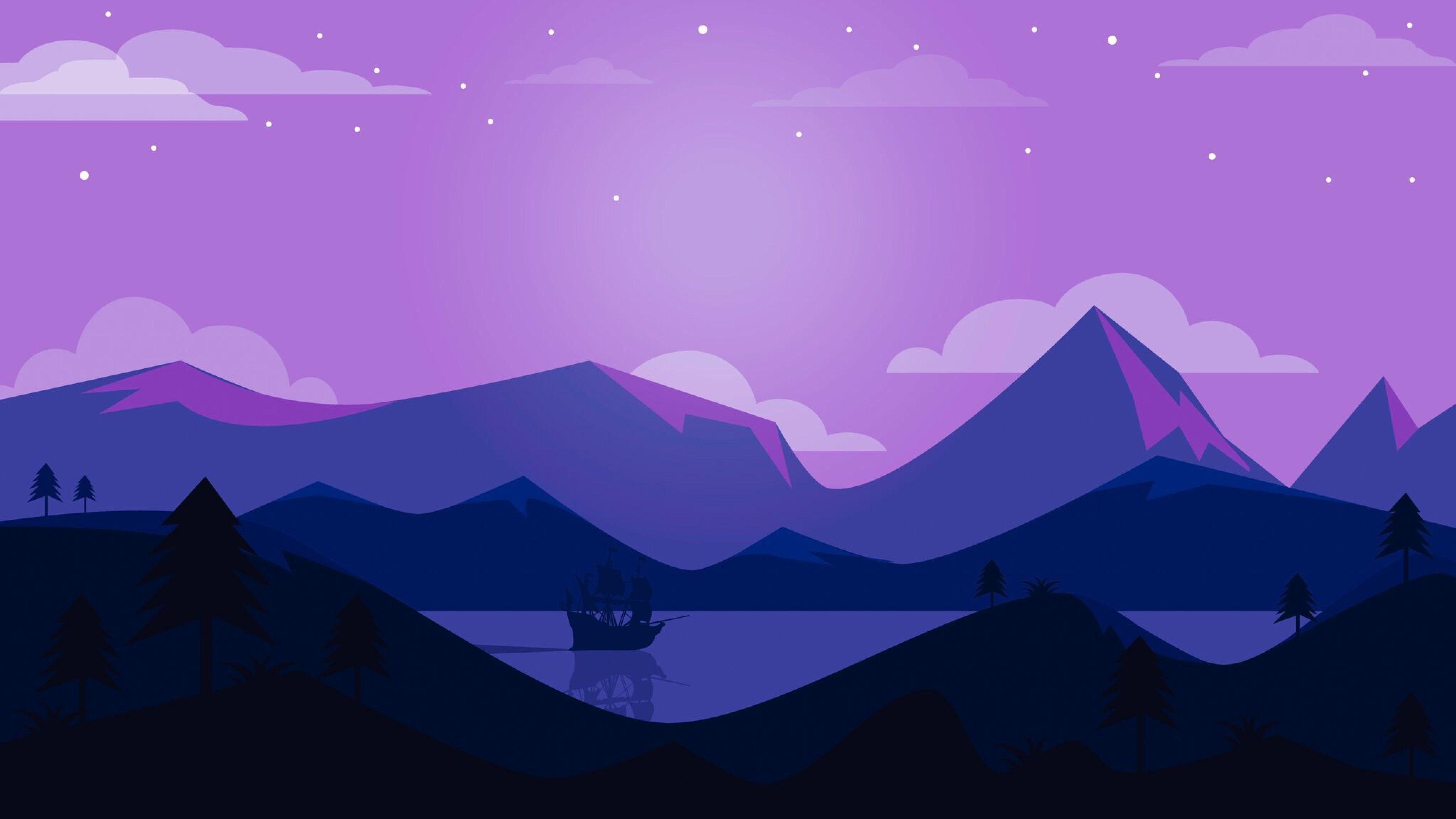 5120x2880 Minimal Ship Artwork Purple Background 5K Wallpaper HD 5120x2880
