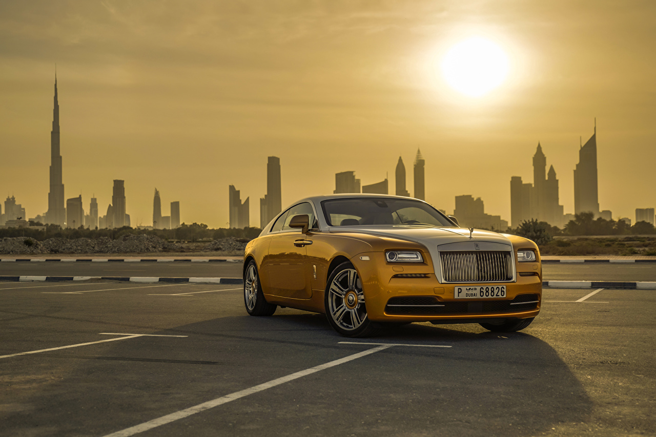 Wallpapers Dubai Rolls Royce Wraith Luxury Cityscape Gold color Cars 1280x853