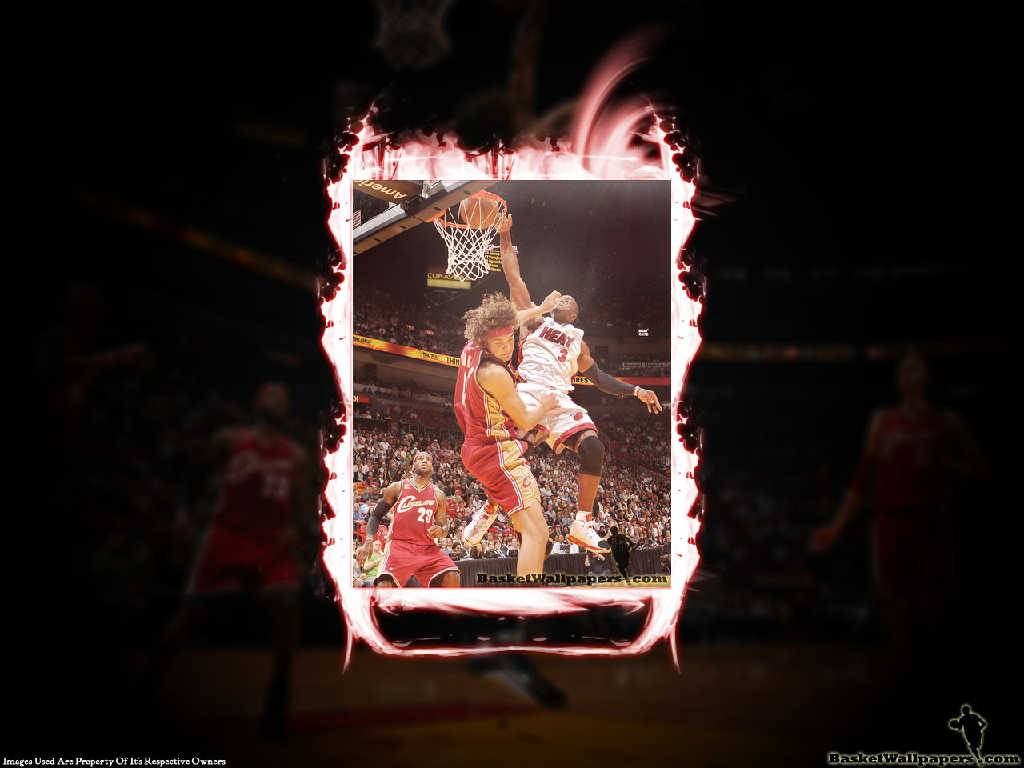 Dwyane Wade Dunk Over Varejao   Miami Heat Wallpaper 1024x768