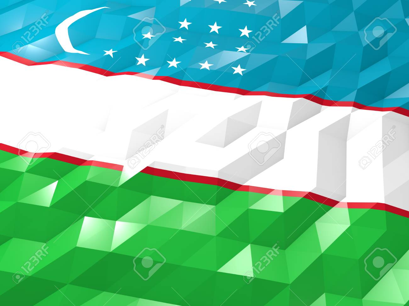 Flag Of Uzbekistan 3D Wallpaper Illustration National Symbol 1300x975