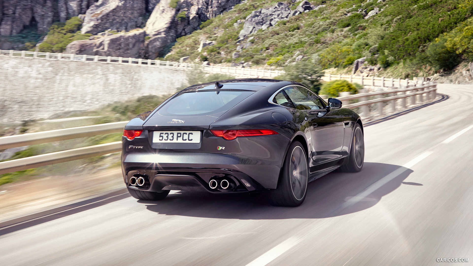 Free Download 2015 Jaguar F Type R Coupe Stratus Grey Rear Hd