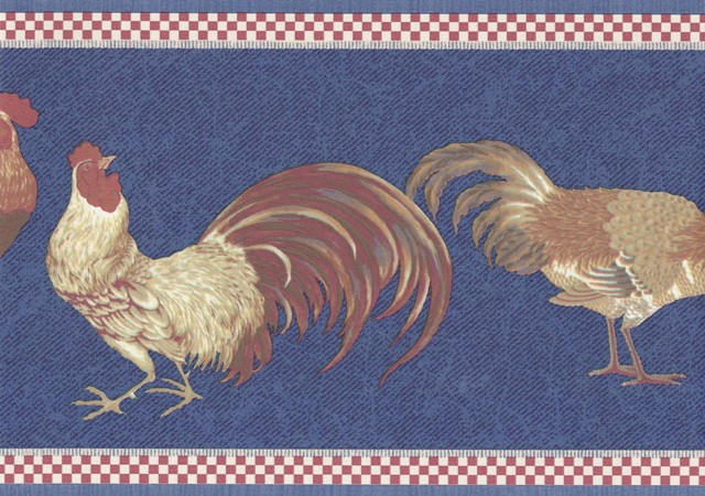 Red Blue Roosters Wallpaper Border   Country Folk 640x450