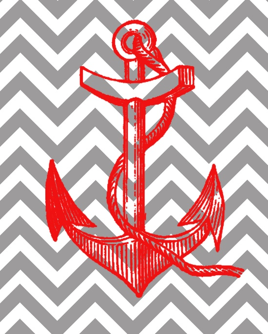 Nautical Anchor with Chevron Background 8x10 Print 550x687