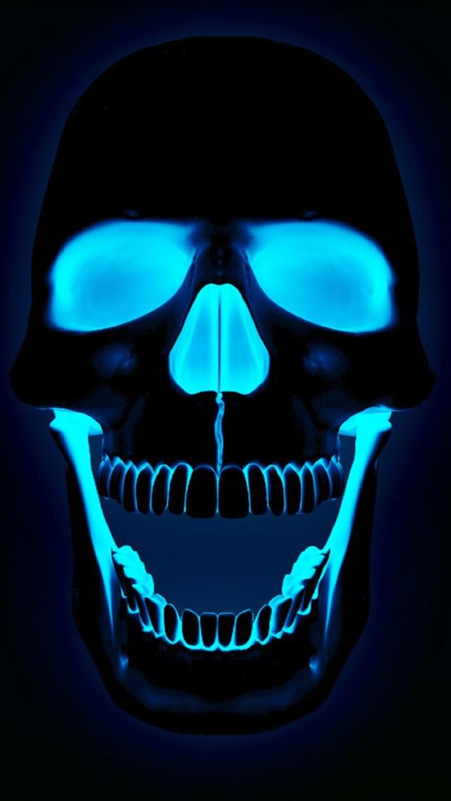 Neon Blue Skull 640x1136