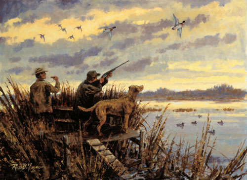 duck hunting paintings 500x365
