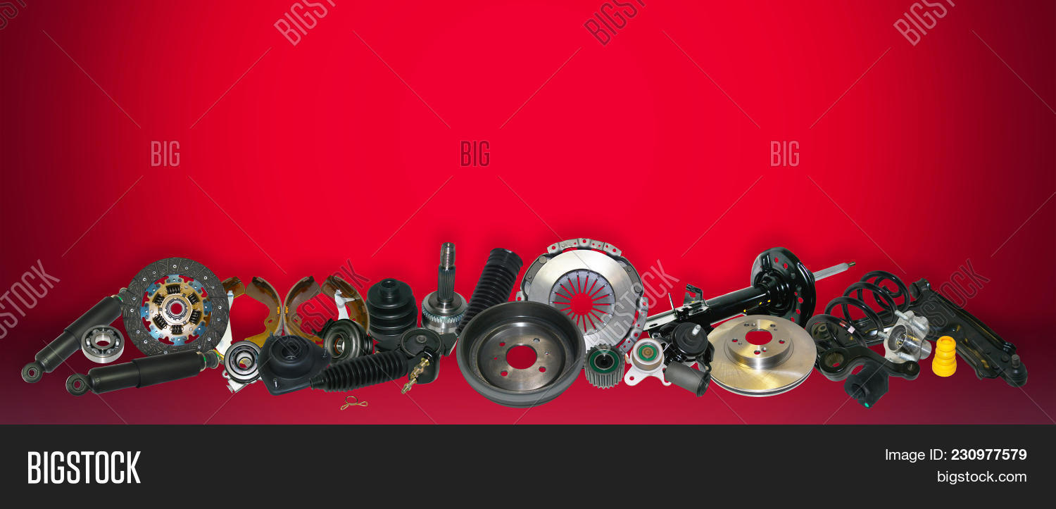 Spare Parts Car On Red Image Photo Trial Bigstock 1500x723