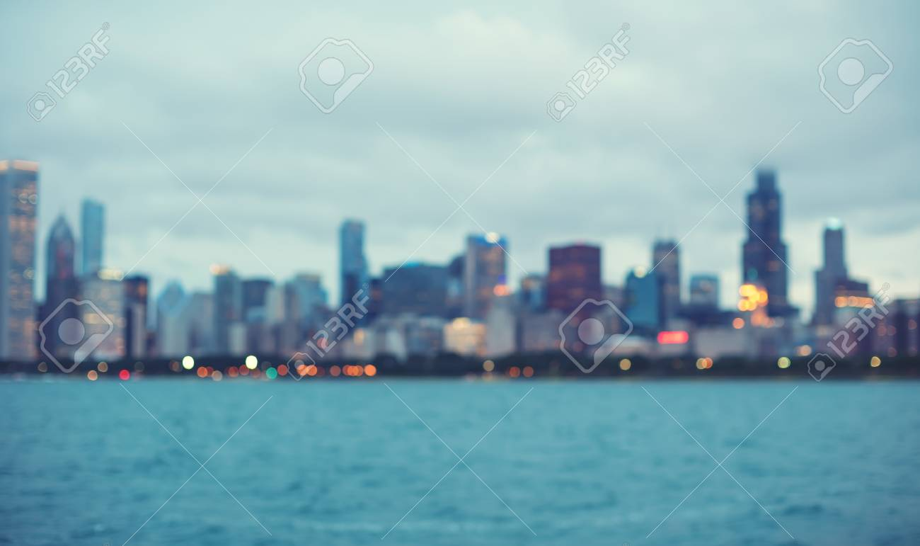Blurred Bokeh Chicago Abstract Cityscape Skyline Background Stock 1300x771