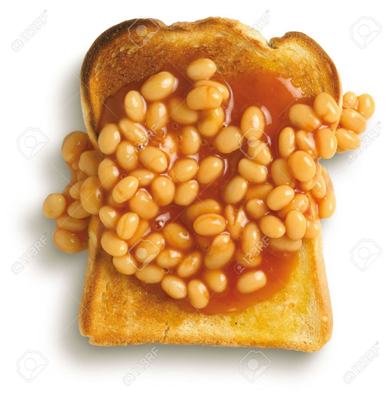 Beans On Toast Student Meal On A White Background Shot From 1272x1300