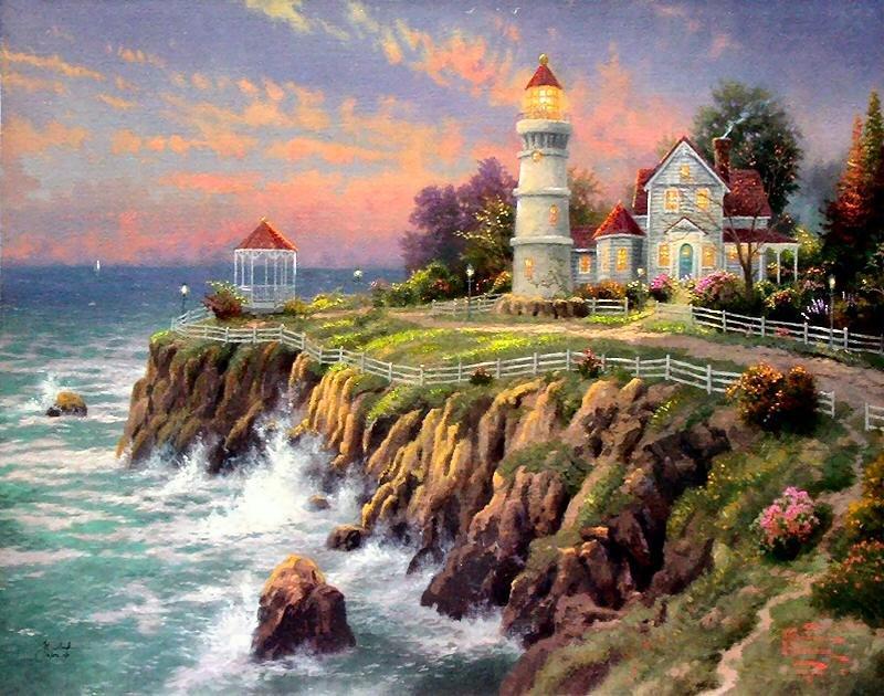 Thomas Kinkade Lighthouse Wallpaper Wallpapersafari