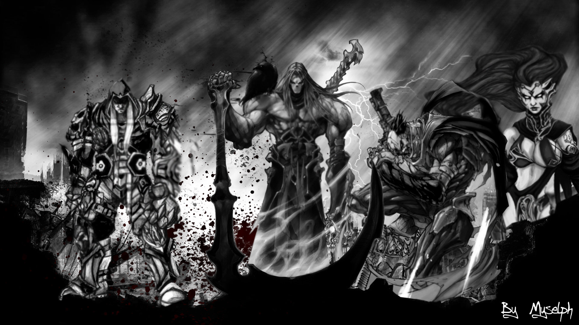 Darksiders Wallpaper Game All Horseman ByMyselph by 1920x1080