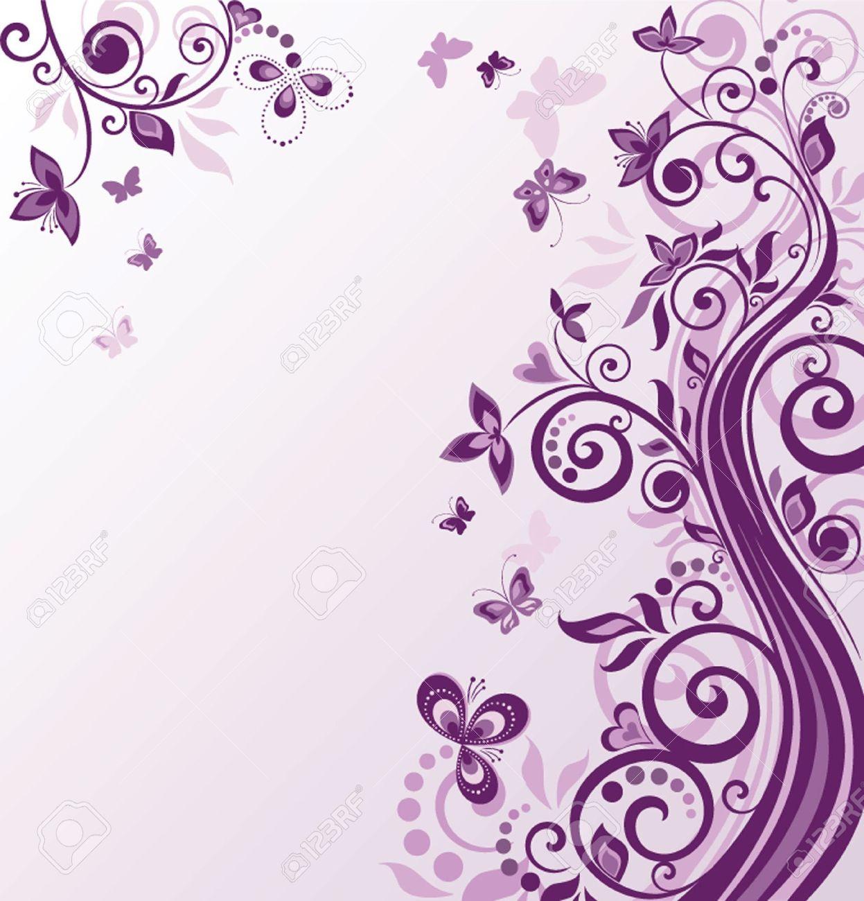 Vintage Floral Violet Background Royalty Cliparts Vectors 1247x1300