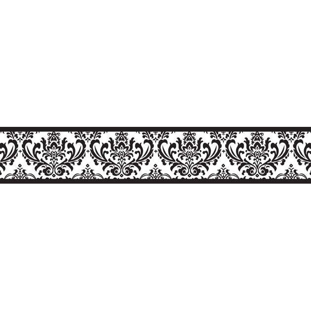 The Isabella black and white modern damask wallpaper border is an easy 630x630