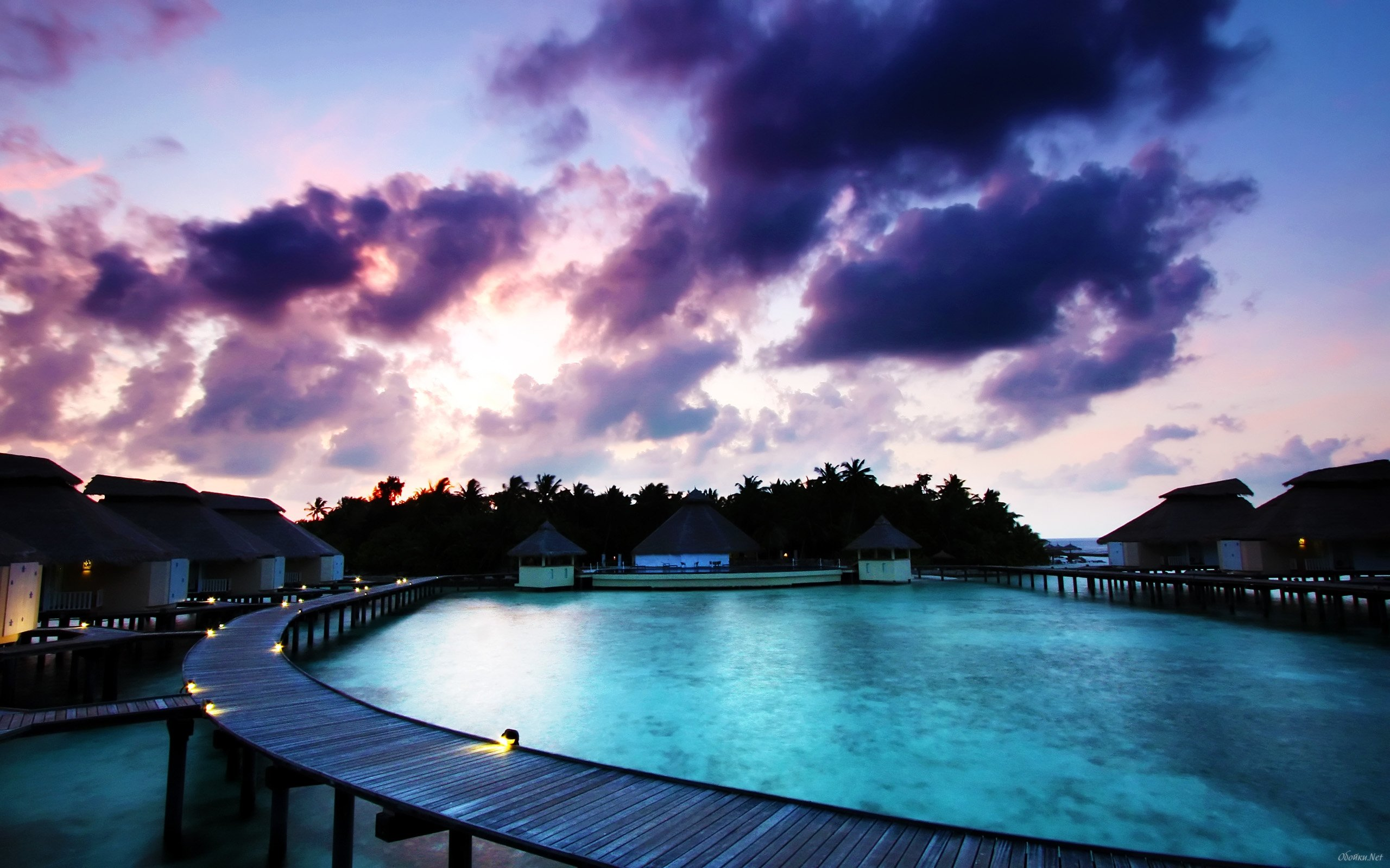 Beach houses on Bora Bora HD Desktop Wallpaper HD Desktop Wallpaper 2560x1600