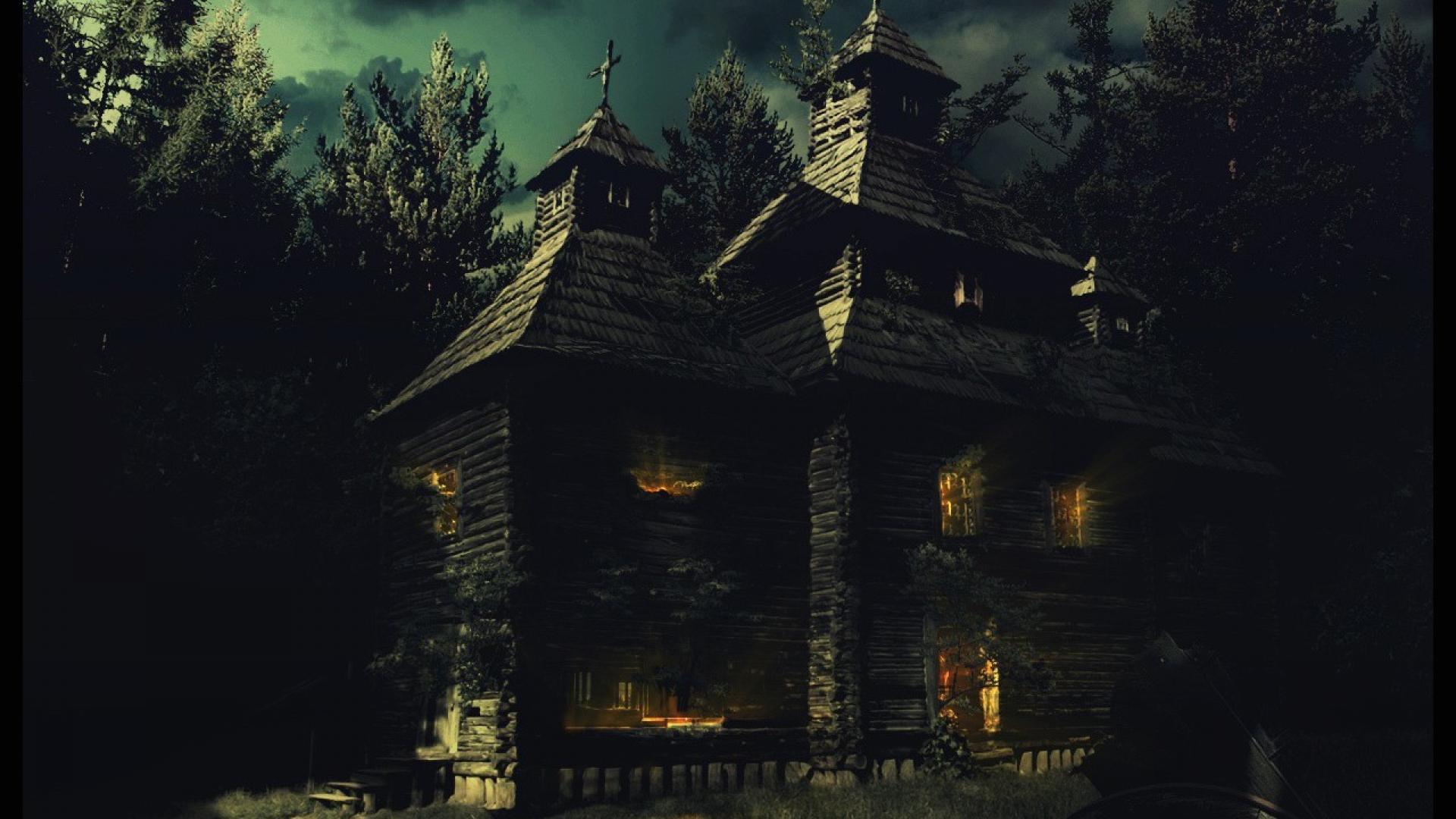 Haunted house wallpaper desktop wallpapersafari for Wallpaper with houses on