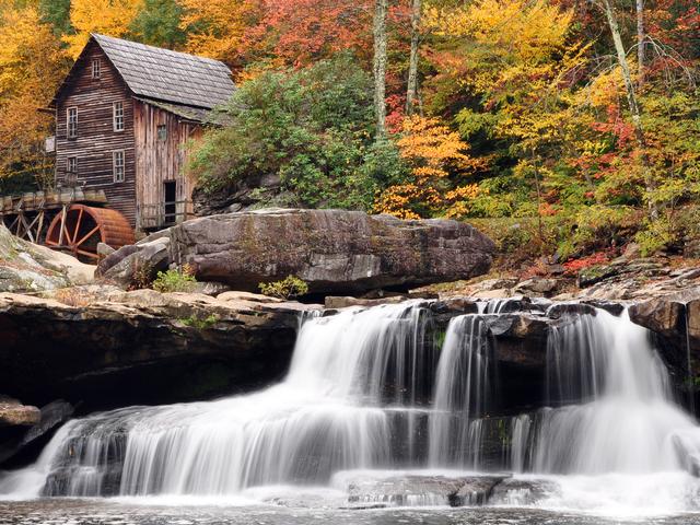 waterfalls autumn Darkgray Rosybrown Burlywood Wallpaper 640x480