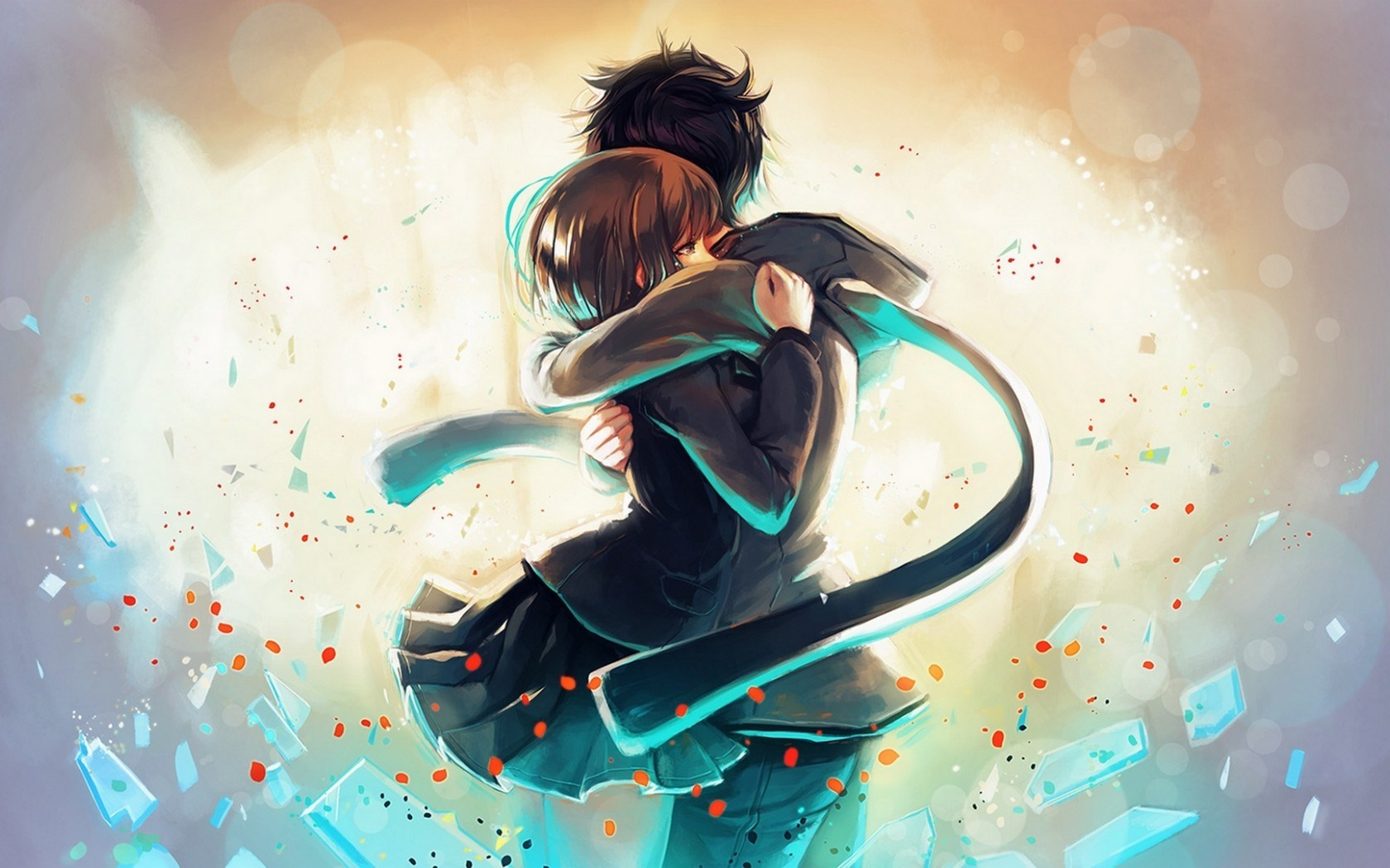 art couple hug love happy manga anime love cute wallpaper 1680x1050