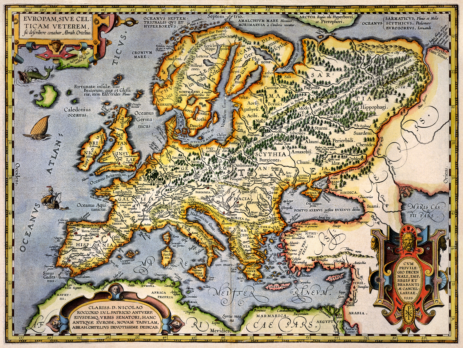 Antique Map of Europe 1595 The Long Goodbye 1597x1200