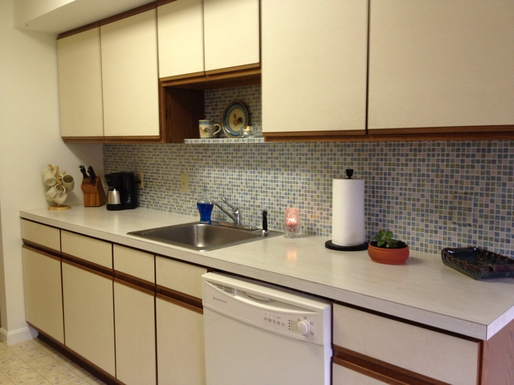 Faux Tile Wallpaper Backsplash Kitchen Pinterest 736x552