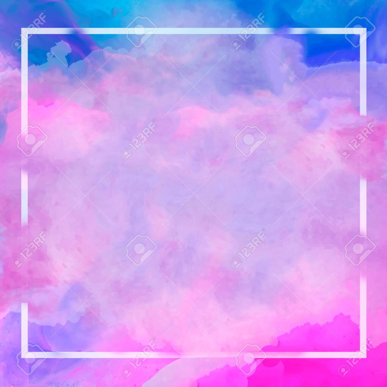 Abstract Purple Blue Pink Pastel Watercolor Frame Border 1300x1300