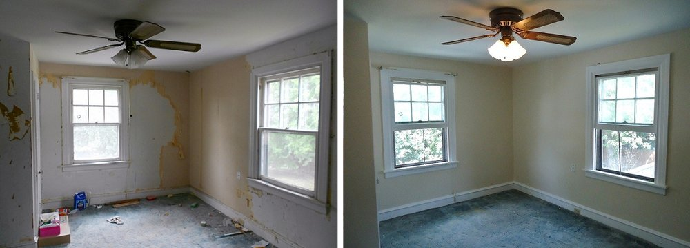 Before and after wallpaper removal window trim wall and ceiling 1000x359