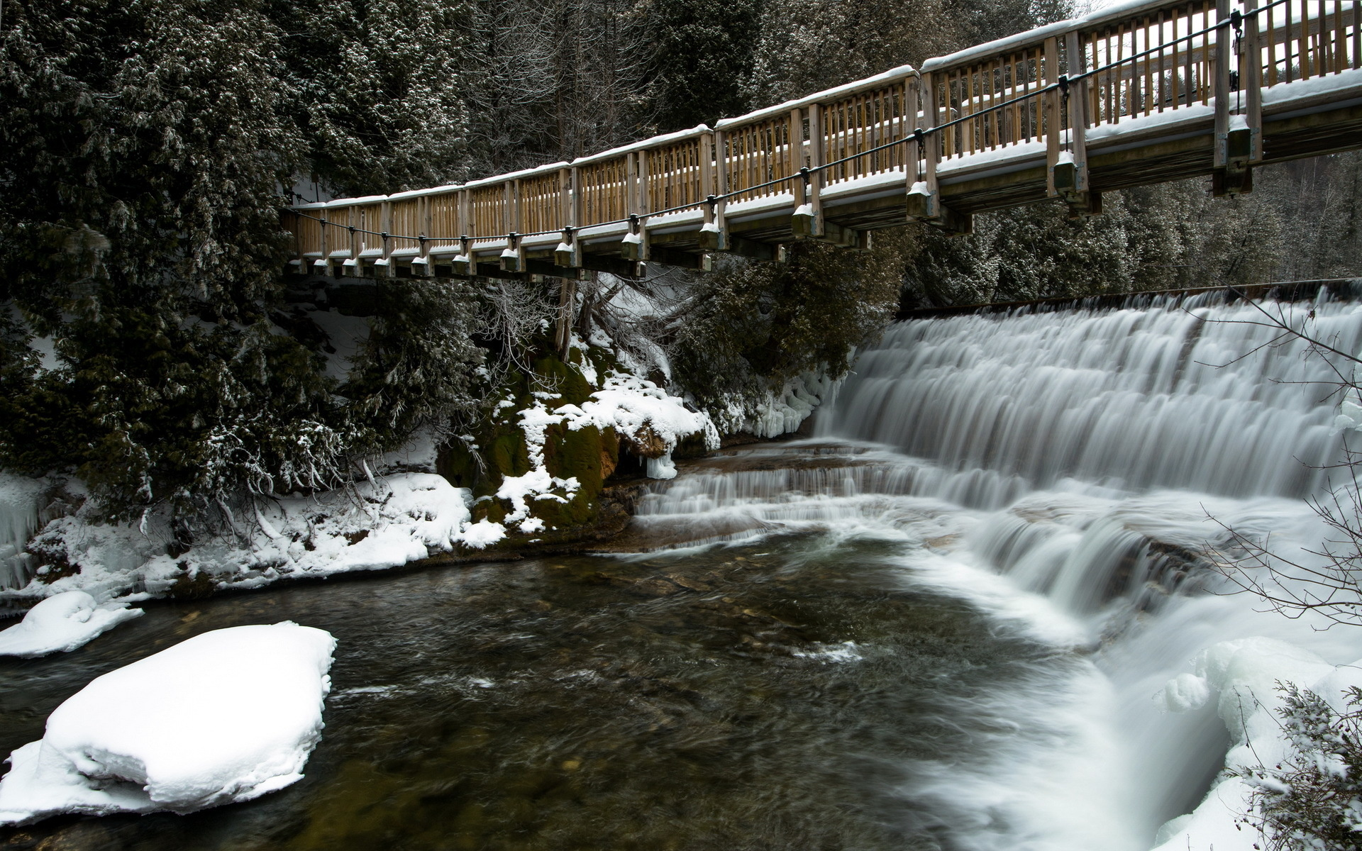 River bridge winter landscape waterfall wallpaper 1920x1200 46739 1920x1200