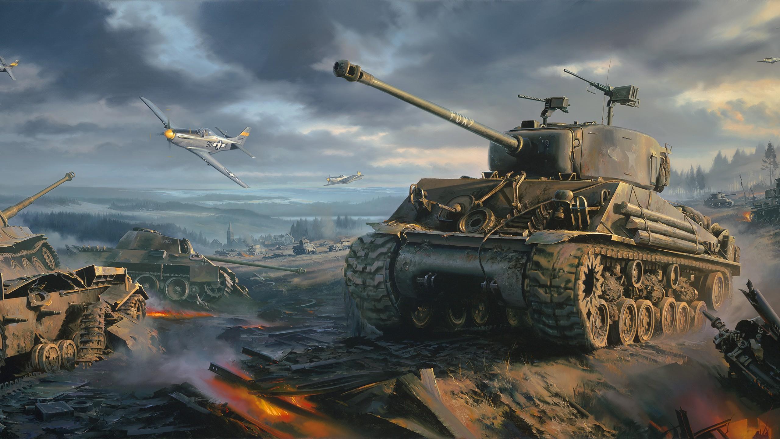 Sherman tank Wallpaper ww2 P 51 Mustang war art painting   Galaxy 2560x1440