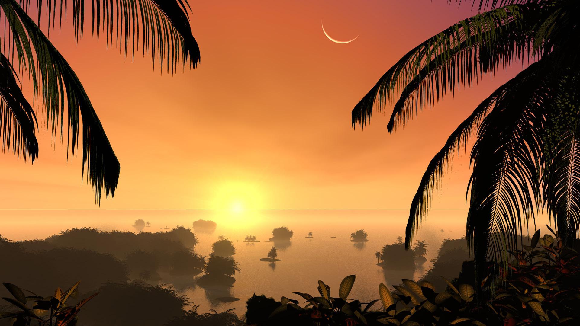 comwallpapersdigital artsunset on a tropical island 7206html 1920x1080