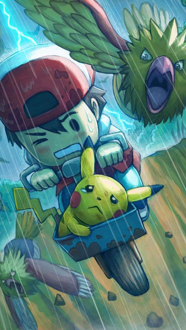 download Pokemon Chase iPhone 5 Wallpaper 640x1136 [640x1136 640x1136