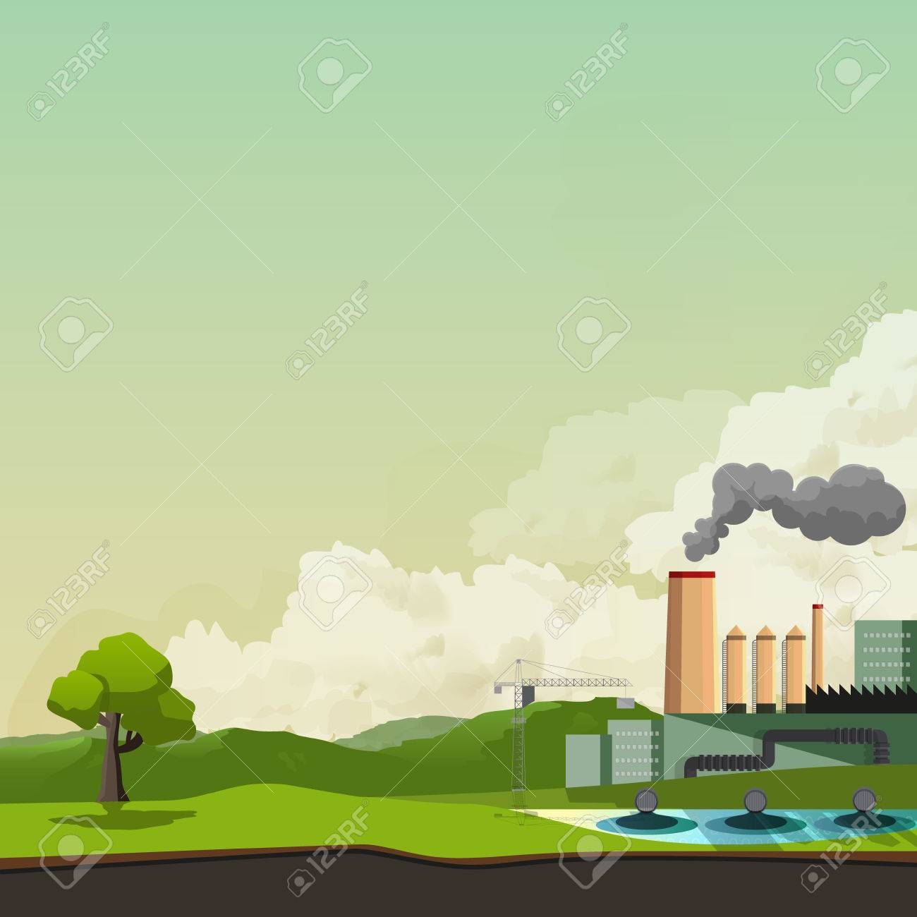 Environmental Pollution Background Vector Illustration Royalty 1300x1300