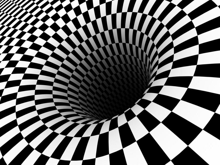 Black hole checkered vortex optical illusions wallpaper 934x700