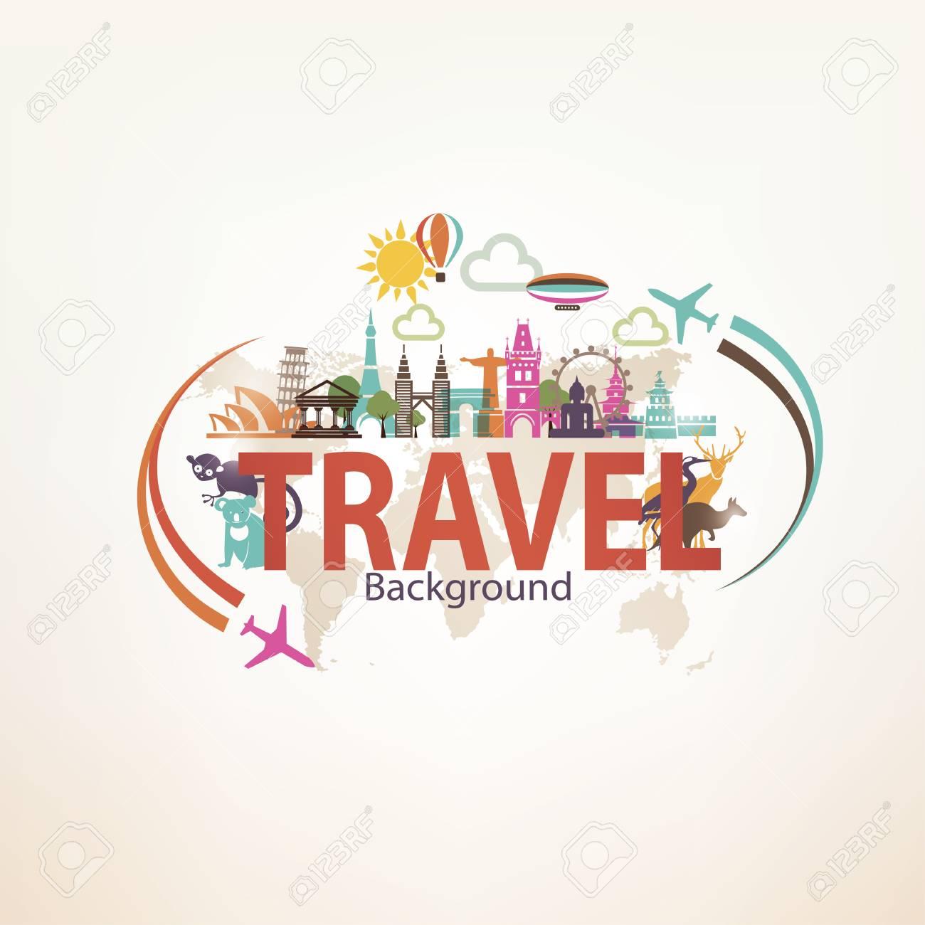 Around The World Travel Background Landmarks And National Symbols 1300x1300