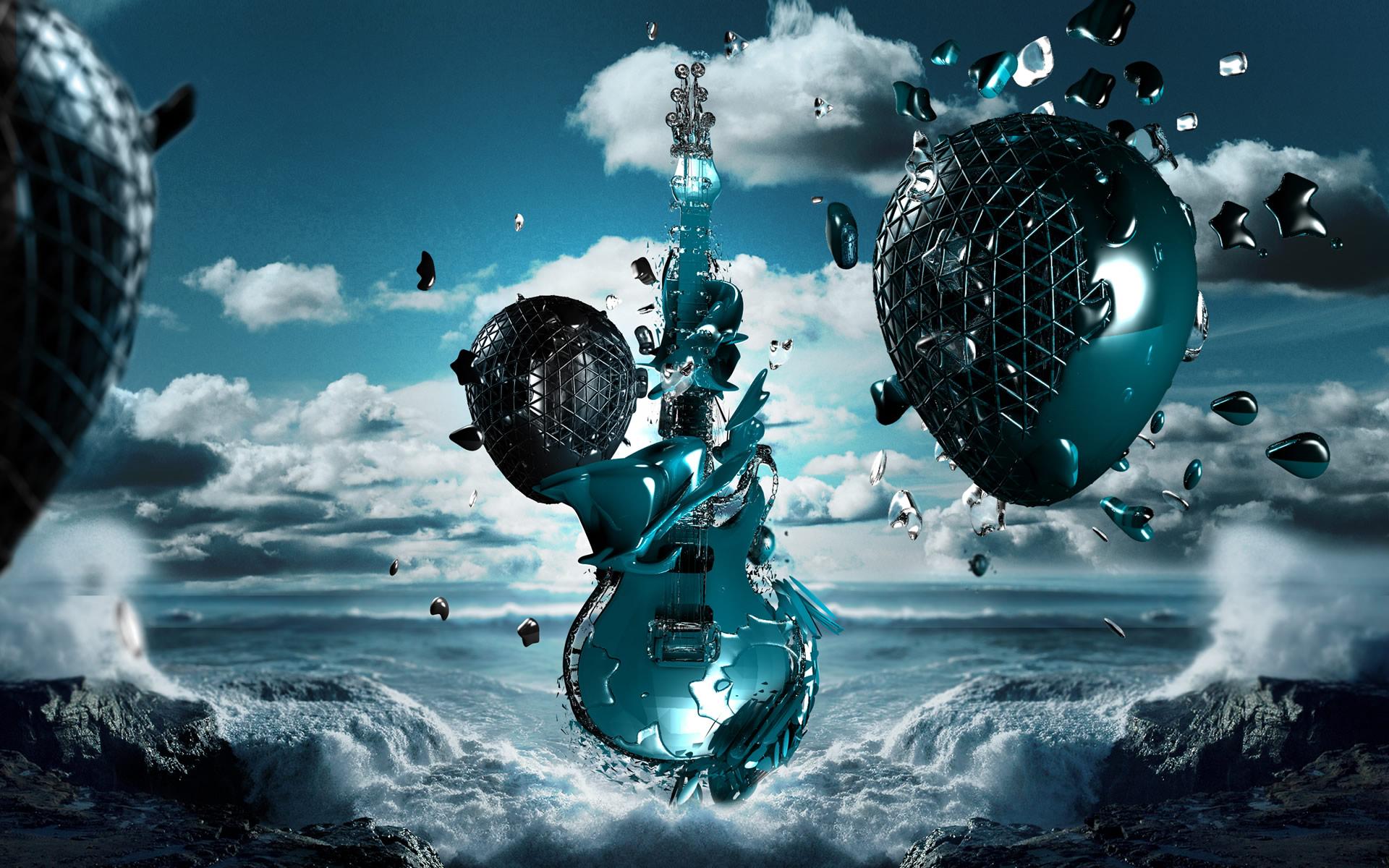 3d Creative Guitar Desktop Wallpaper   HD Wallpapers 1920x1200