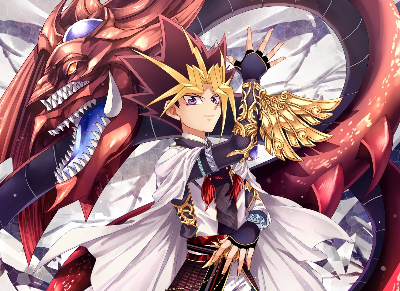 Yu Gi Oh Yami Yugi Slifer The Sky Dragon Looking Ahead wallpaper 1680x1220