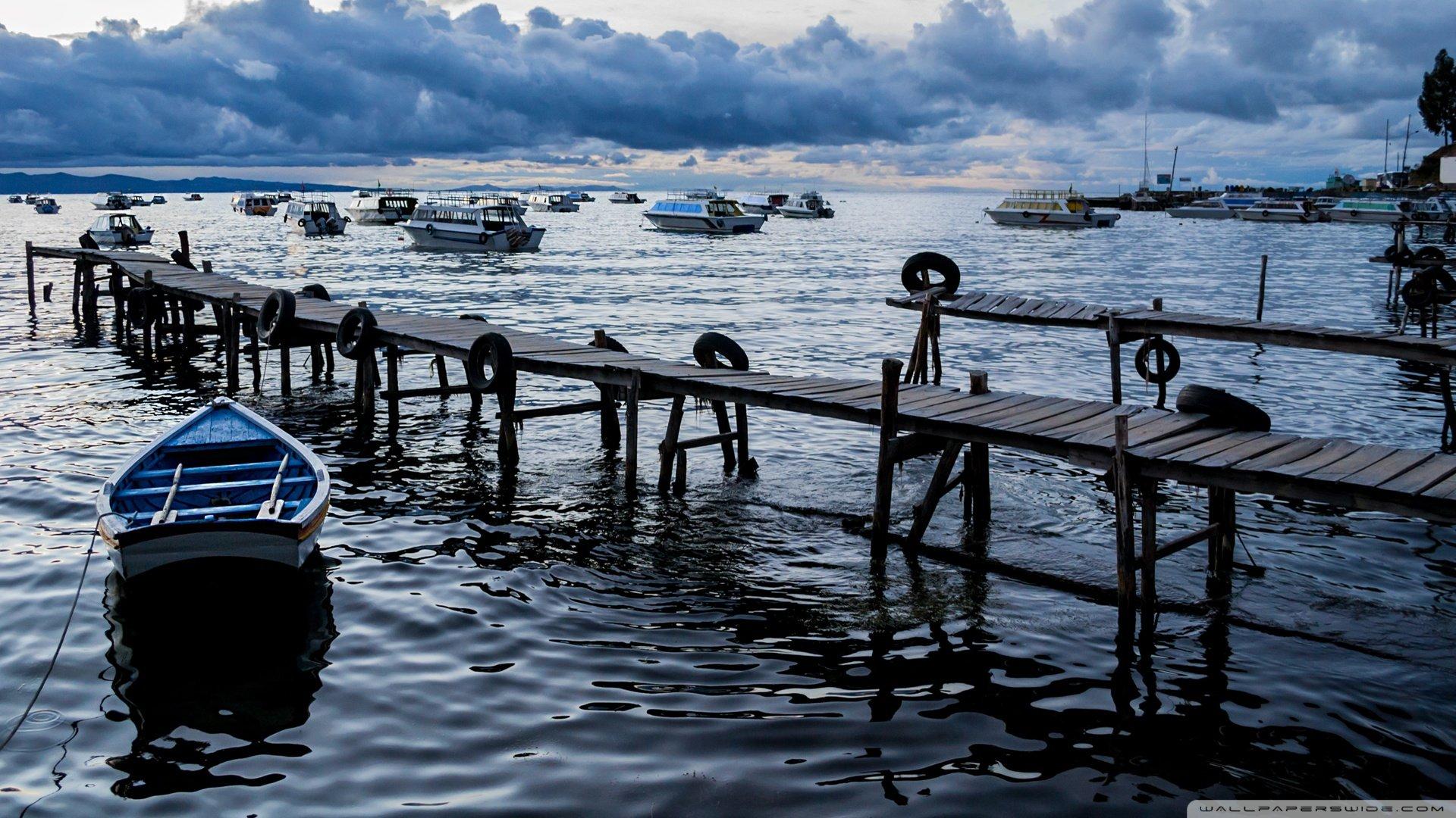 Copacabana Port Bolivia HD wallpaper 1920x1080