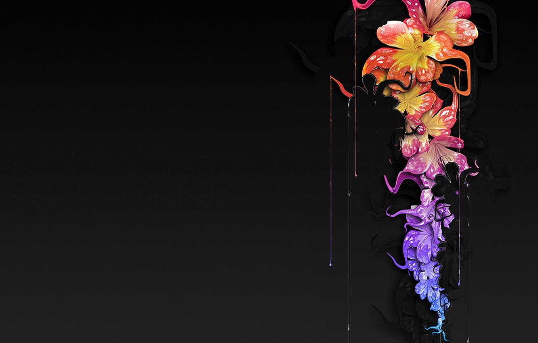 Photo Wallpaper Drops Flowers Paint Black Background   Desktop 1332x850