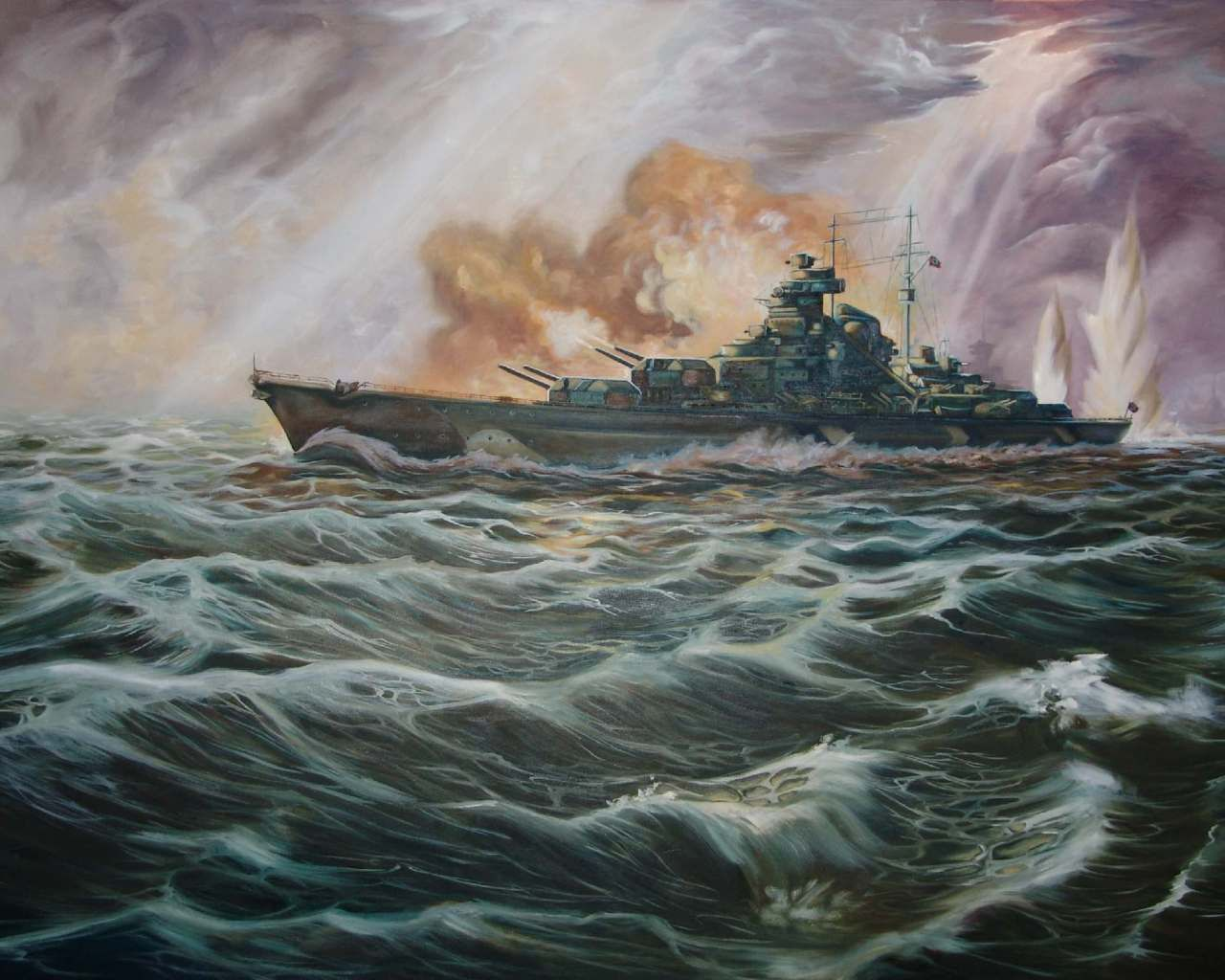 Bismarck Art Battle Battleship Bismarck Drawing Fire German 1280x1024