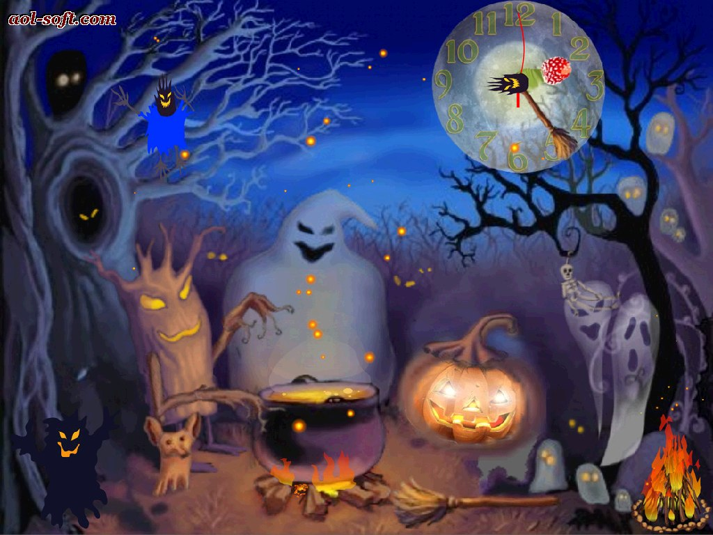 HappyHalloweenLive AnimatedLive Wallpapertimeclockwatchtimeline 1024x768