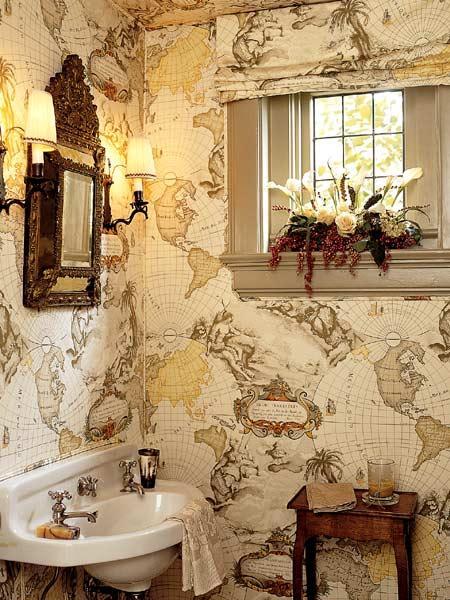 Vinatge Map Wallpaper   Vintage   bathroom 450x600
